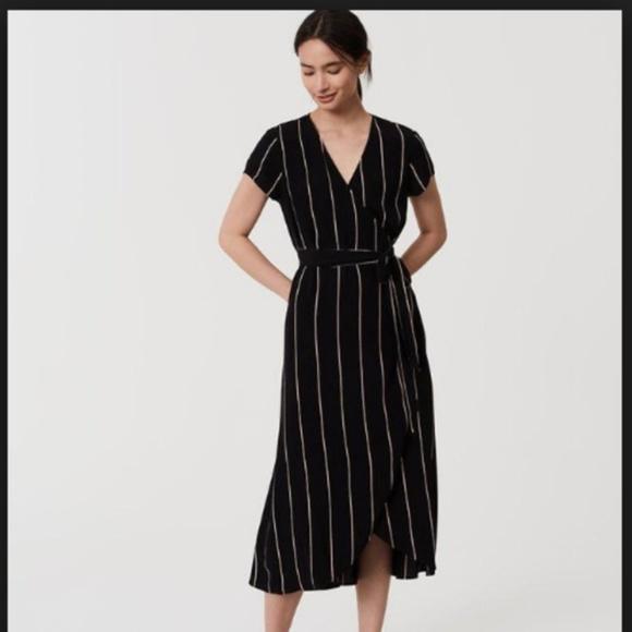 Loft Dresses Womens Black Striped Wrap Dress Poshmark