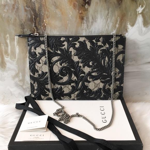 2d4de946f869 Gucci Bags   Arabesque Leather Canvas Chain Clutch Bag   Poshmark
