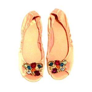 Shoes - Jeweled satin flats