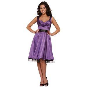 Purple Satin Swing Dress w/ Underskirt H&R London