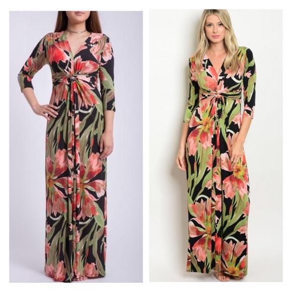 15f5bc1e7f3 Twist front floral print maxi dress