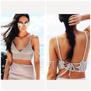 SABO skirt crochet knit crop top lace up back sz S