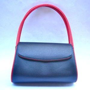 Handbags - Black Faux Leather Handbag Red Pink Detachable Sho