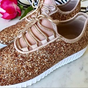 Shoes - 🎉HP🎉 Rose Gold Glitter Slip On Sneakers
