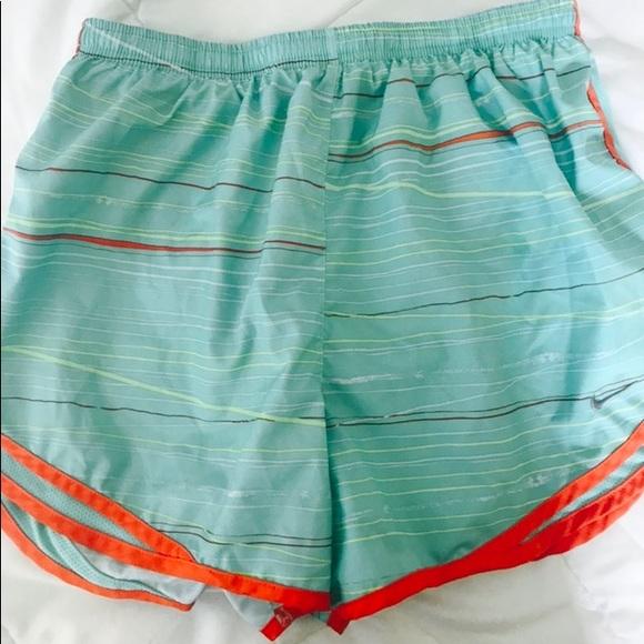 Mint and Orange Patterned Nike Shorts