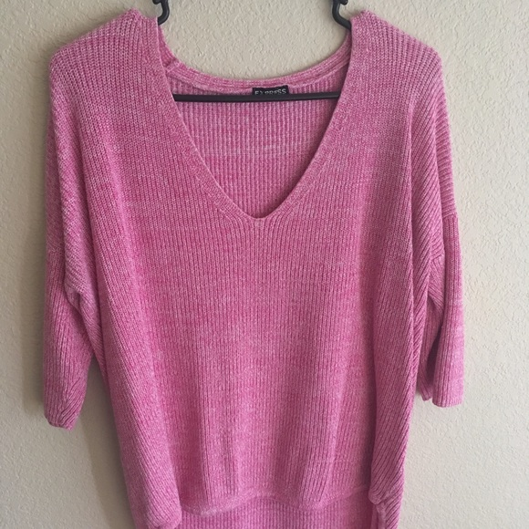 85% off Express Sweaters - Express London pink marled sweater high ...