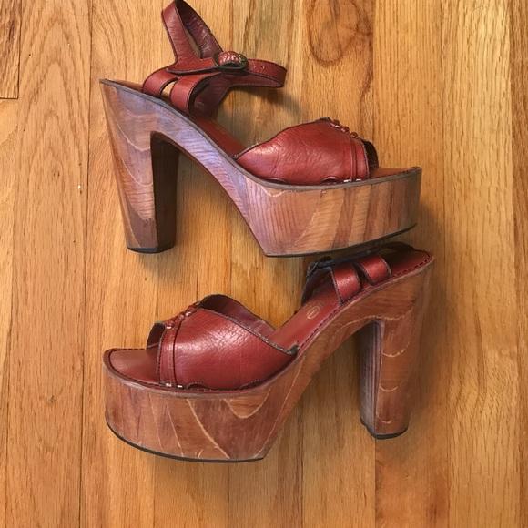 49edab7d0a Connie Shoes | Vintage 1970s Platform Wooden Sandals | Poshmark