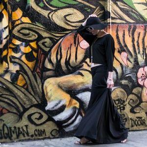Black Drape Front Maxi Skirt