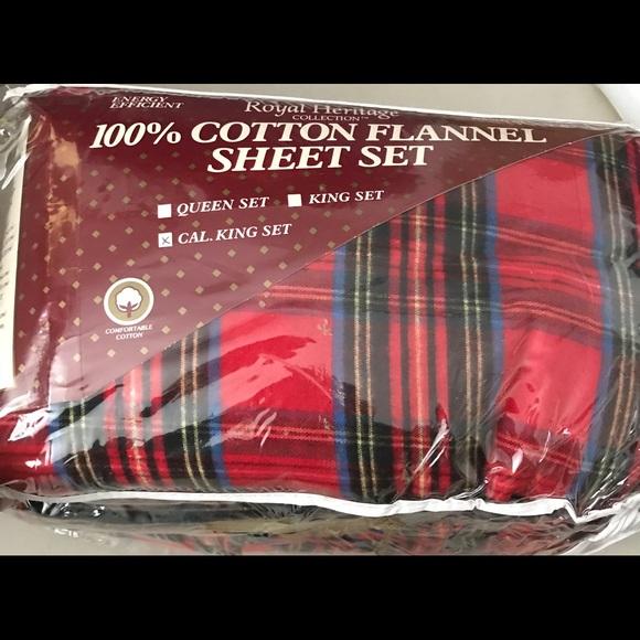 Royal Heritage Bedding California Kingcotton Flannel Sheet Set Red Plaid Poshmark