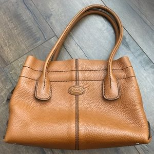 TOD'S leather cognac small satchel