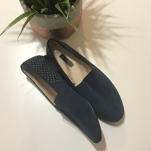 Shoemint blue suede leather loafers
