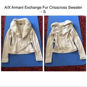 A/X Armani Exchange Fur Crisscross Sweater - S