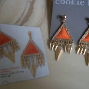 "Geometric Orange Triangle Earrings 2 1/4""  long"