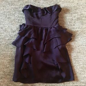 Purple ruffled American Eagle strapless dress