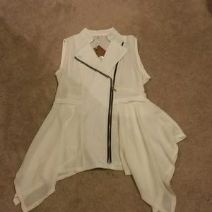 Asymmetric white vest