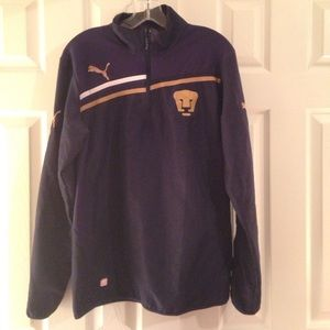 Men's size S blue Puma 1/4 zip wind breaker