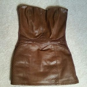 Sky leather top