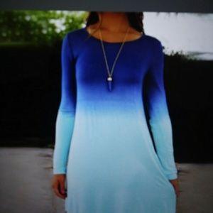 Aqua and Blue Dip Dye Dress