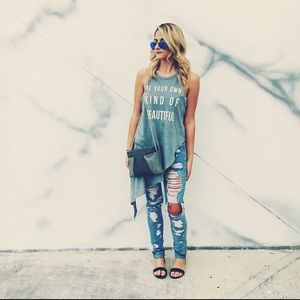 H&M skinny high waist ripped jeans