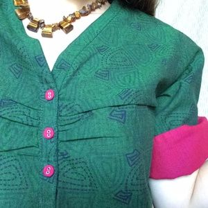 Vintage Tops - Fabindia Cotton Deep Greey Dyed Tunic Tribal Print