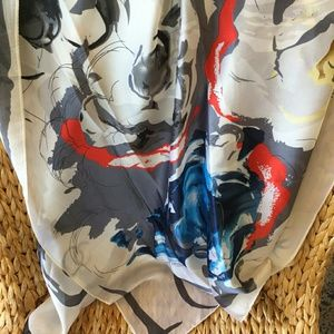 Accessories - New Abstract Floral Long Silk Scarf