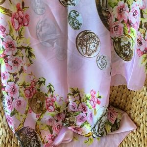 Accessories - New Pink Floral Silk Blend Long Scarf