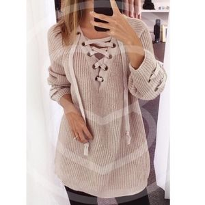 ALIA solid sweater tunic top