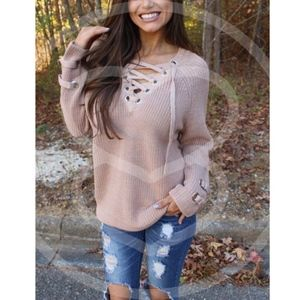 ALIA solid sweater tunic top - BLUSH