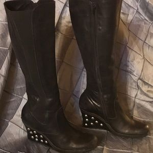Dark Brown Studded Heal Wedge Reaction Boot Size 8