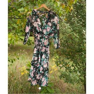 Vintage Black High/Low Hem Floral Dress