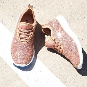 LAST PAIR Rose Gold Glitter Sneakers