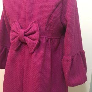 Pink bow detail coat M
