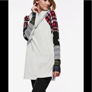 Sweaters - Patchwork sleeve Tunic sweater