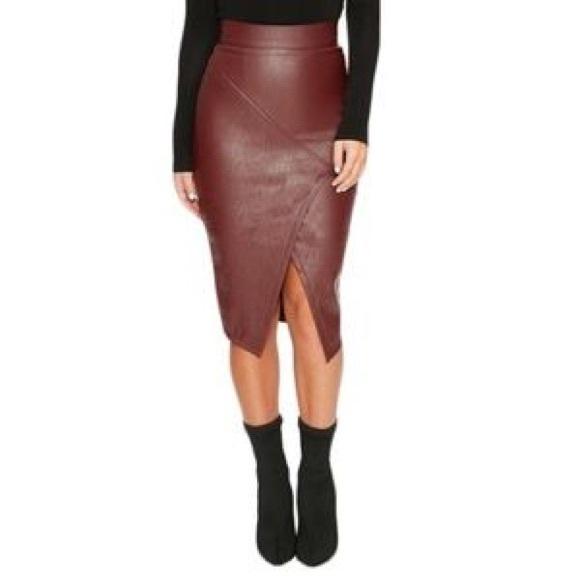 Johanna Johnson Haute Couture Burgundy Leather Pencil Skirt Sz 4 6 Y