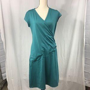 Athleta Cinched Waist Short Sleeve Teal Dress