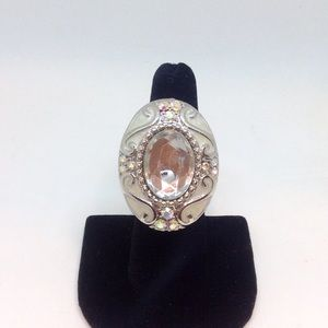 Silver Crystal Locket Ring with Quote. MUST SEE