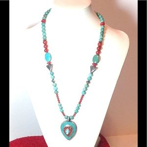Jewelry - Sterling Turquoise and Coral Necklace