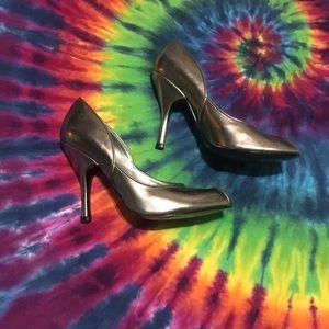 Open Toe Heels - Silver Pumps peep toe
