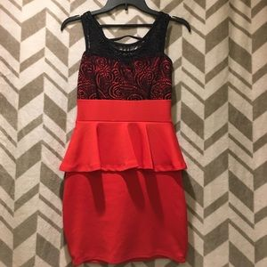 Red and Black Party Dress
