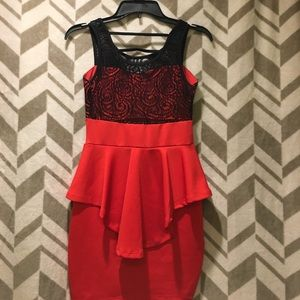 Dresses - Red and Black Party Dress