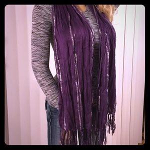 Accessories - Purple and Silver Tassel Scarf