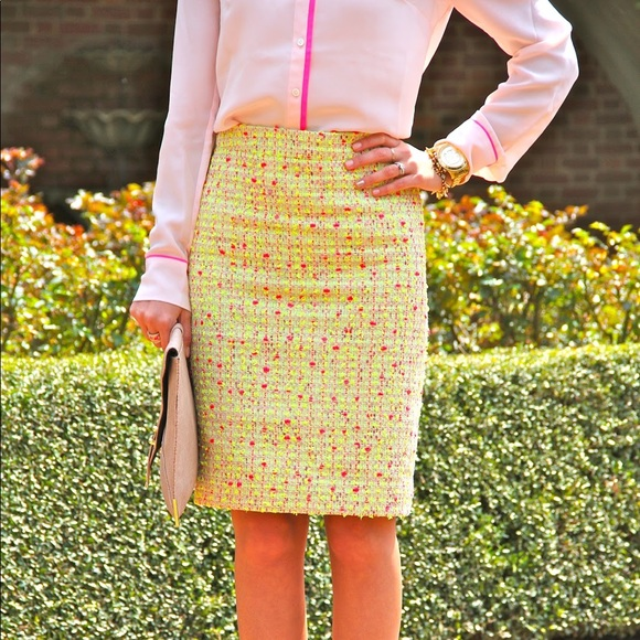 J. Crew Dresses & Skirts - J.Crew • Neon Tweed Pencil Skirt