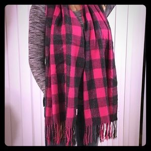 Accessories - Pink and Gray Plaid Tassel Scarf