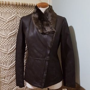 Kenneth Cole Brown Faux Leather & Fur Coat NWT