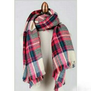Accessories - Fuchsia Pink Plaid Big Blanket Scarf