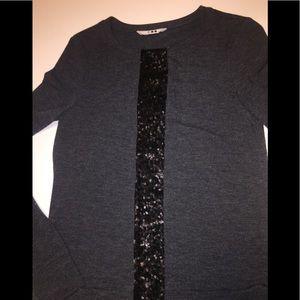 Three Dot heather gray cardigan with sequin stripe