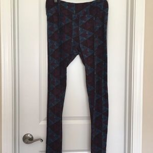 LuLaRoe TC Leggings in Blue and Mulberry