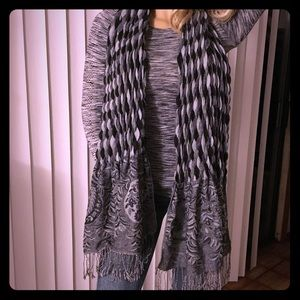 Accessories - Oversized Black and Gray Floral Stretch Scarf