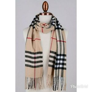 Accessories - Beige, Black, and Red Plaid Fringe Scarf