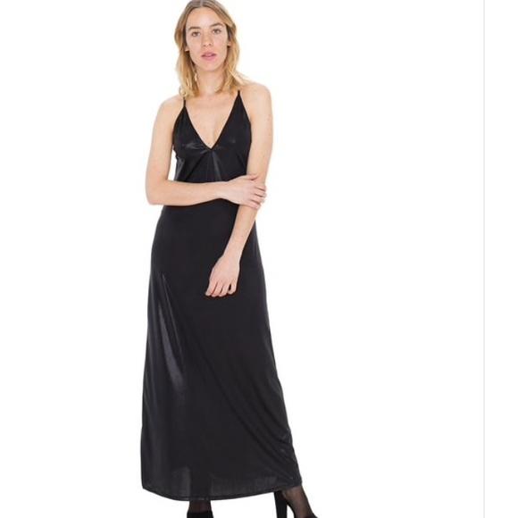 American Apparel Dresses Holiday Aa Black Metallic Jersey Maxi